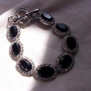 Monet Black marcasite silvertone bracelet